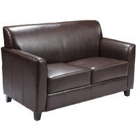 Flash Furniture BT-827-2-BN-GG Hercules Diplomat Brown Leather Loveseat with Wooden Feet