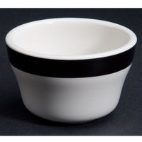 CAC R-4-BLK Rainbow 7.25 oz. Black Rolled Edge Stoneware Bouillon Bowl - 36/Case