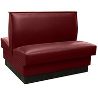American Tables & Seating QAD-36 46 inch Sangria Plain Double Back Fully Upholstered Booth - Quick Ship
