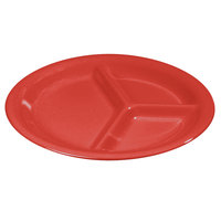 Carlisle 3300005 10 1/2 inch Red Sierrus 3 Compartment Narrow Rim Plate - 12/Case
