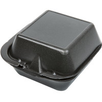 Genpak SN225-BK 6 inch x 6 inch x 3 inch Black Foam Hinged Lid Container - 125/Pack