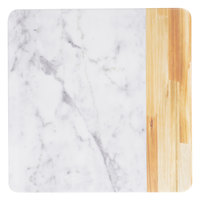 Elite Global Solutions M13M Sierra 13 inch Faux Alder Wood and Carrara Marble Square Serving Board