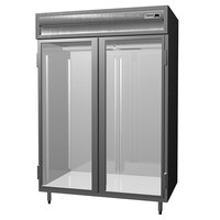 Delfield SSR2S-SLG Stainless Steel 38 Cu. Ft. Two Section Shallow Sliding Glass Door Reach In Refrigerator - Specification Line