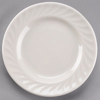 Tuxton MEA-071 Meridian 7 1/8 inch Ivory (American White) Swirl Rim China Plate - 36/Case