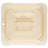 Carlisle 10510U13 StorPlus 1/6 Size Amber Universal High Heat Handled Lid