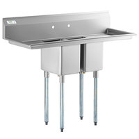 Regency 54 inch 16-Gauge Stainless Steel Two Compartment Commercial Sink with Galvanized Steel Legs and Two Drainboards - 10 inch x 14 inch x 12 inch Bowls