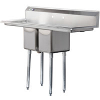 "Regency 54"" 16-Gauge Stainless Steel Two Compartment Commercial Sink with Two Drainboards - 10"" x 14"" x 12"" Bowls"