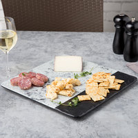 Elite Global Solutions M13SM Horizon Slate 13 inch Faux Slate and Marble Square Serving Board