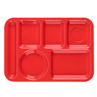 Carlisle P61405 10 inch x 14 inch Red Left Hand 6 Compartment Tray
