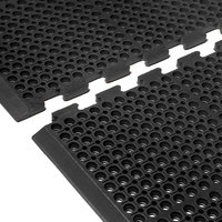 Cactus Mat 4420-CEWB VIP Duralok 3' 2 inch x 5' 1 inch Black End Interlocking Anti-Fatigue Anti-Slip Floor Mat with Beveled Edge - 3/4 inch Thick