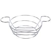 American Metalcraft BSKC08 Chrome Round Wire Basket with Ramekin Holders - 8 inch x 3 3/4 inch