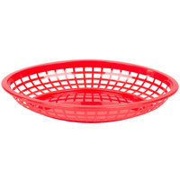 Tablecraft C1084R Red Jumbo Oval Polypropylene Fast Food Basket - 12/Pack