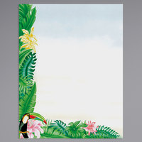 8 1/2 inch x 11 inch Menu Paper - Tropical Themed Toucan Design Left Insert - 100/Pack