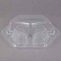 Genpak 94713 Smart-Set 10 inch Clear Dome 3 Compartment Hexagonal Lid - 200/Case