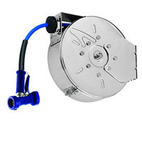 T&S B-7142-C02 50' Enclosed Stainless Steel Hose Reel with Rear Trigger Water Gun
