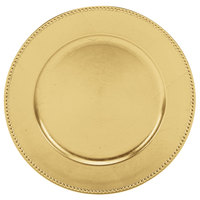Tabletop Classics by Walco TRG-6655 13 inch Round Gold Polypropylene Charger Plate with Beaded Rim