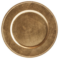 Tabletop Classics by Walco TRG-6655 13 inch Gold Round Plastic Charger Plate with Beaded Rim
