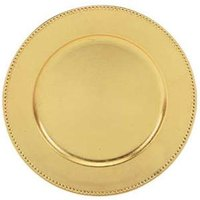 Tabletop Classics TRG-6655 13 inch Round Gold Polypropylene Charger Plate with Beaded Rim
