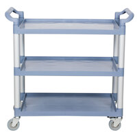 40 1/2 inch x 19 3/4 inch x 37 7/8 inch Gray Three Shelf Utility Cart / Bus Cart
