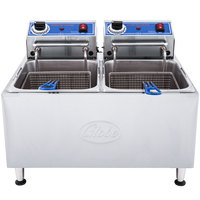 Globe PF32E 32 lb. Dual Tank Electric Countertop Fryer