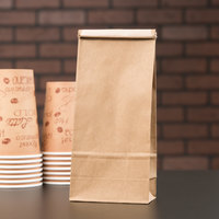 1 lb. Brown Kraft Customizable Paper Coffee Bag with Reclosable Tin Tie - 1000/Case