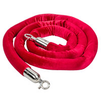 Aarco Red 8' Stanchion Rope with Satin Ends for Rope Style Crowd Control / Guidance Stanchion