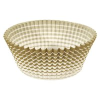 Ateco 6409 1 inch x 5/8 inch Gold Striped Baking Cups (August Thomsen) - 200/Box