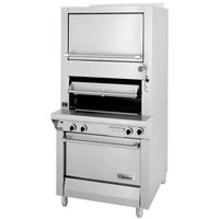 Garland M100XRM Master Series Natural Gas Heavy-Duty Upright Infrared Broiler with Standard and Finishing Ovens - 110,000 BTU