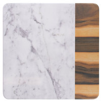 Elite Global Solutions M13M Sierra 13 inch Faux Hickory Wood and Carrara Marble Square Serving Board