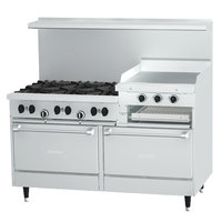 Garland SunFire Series X60-6R24RR Liquid Propane 6 Burner Gas Range with 24 inch Raised Griddle/Broiler and Two Standard Ovens
