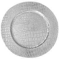 The Jay Companies 1270405-4 13 inch Crocodile Silver Melamine Charger Plate