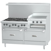 Garland SunFire Series X60-6R24RR Natural Gas 6 Burner Gas Range with 24 inch Raised Griddle/Broiler and Two Standard Ovens