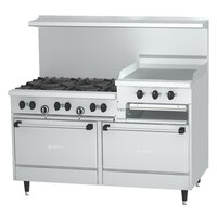 Garland SunFire Series X60-6G24RR Liquid Propane 6 Burner Gas Range with 24 inch Griddle and Two Standard Ovens