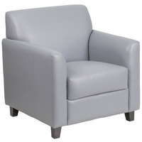 Flash Furniture BT-827-1-GY-GG Hercules Diplomat Gray Leather Chair with Wooden Feet