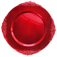 The Jay Companies 1180256-R-4 13 inch Round Royal Red Leaf Embossed Plastic Charger Plate