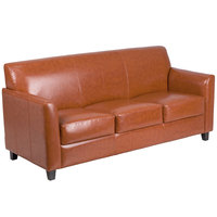 Flash Furniture BT-827-3-CG-GG Hercules Diplomat Cognac Leather Sofa with Wooden Feet