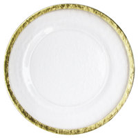 The Jay Companies 12 5/8 inch Hammered Ice Gold Band Charger Plate