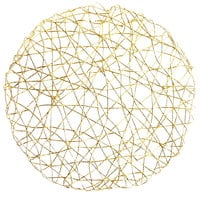 The Jay Companies 1332564 14 1/2 inch Gold Paper Foil Round Placemat