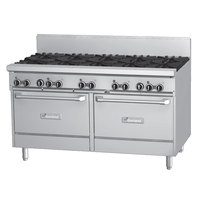 Garland GFE60-8G12RR Liquid Propane 8 Burner 60 inch Range with Flame Failure Protection and Electric Spark Ignition, 12 inch Griddle, and 2 Standard Ovens - 120V, 302,000 BTU