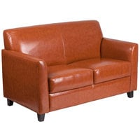 Flash Furniture BT-827-2-CG-GG Hercules Diplomat Cognac Leather Loveseat with Wooden Feet