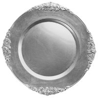 The Jay Companies 1180256-S-4 13 inch Round Royal Silver Leaf Embossed Polypropylene Charger Plate