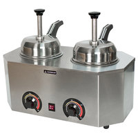 Paragon 2029D Pro-Deluxe Dual 3 Qt. Warmer with 2 Heated Spouts and Rear Controls - 120V, 1034W