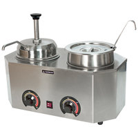 Paragon 2029E Pro-Deluxe Dual 3 Qt. Warmer with Inset, Lid, Ladle, and Spout - 120V, 1000W