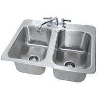 Advance Tabco DI-2-10 2 Compartment Drop In Sink - 10 inch x 14 inch x 10 inch Bowls