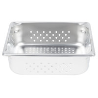 Vollrath 30243 Super Pan V 1/2 Size Anti-Jam Stainless Steel Perforated Steam Table / Hotel Pan - 4 inch Deep