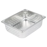 Vollrath 30243 Super Pan V® 1/2 Size 4 inch Deep Anti-Jam Perforated Stainless Steel Steam Table / Hotel Pan - 22 Gauge
