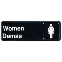 Tablecraft 394567 Black and White Women's / Damas Restroom Sign - Black and White, 9 inch x 3 inch