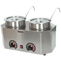 Paragon 2029A Pro-Deluxe Dual 3 Qt. Warmer with 2 Insets, 2 Lids, and 2 Ladles - 120V, 1000W