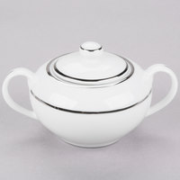 10 Strawberry Street DSL0018 8 oz. Double Line Silver Porcelain Covered Sugar Bowl - 6/Case