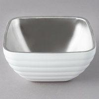 Vollrath 4761950 24 oz. Stainless Steel Double Wall Pearl White Square Beehive Serving Bowl